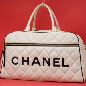 Chanel Large Quilted Bicolor CC Logo Sports Duffle